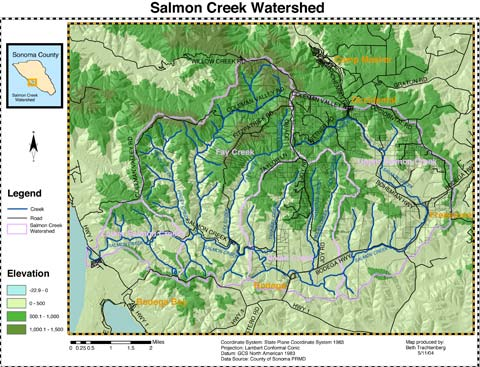 Salmon Creek Watershed GIS map
